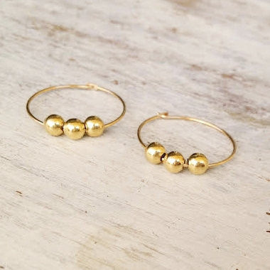 Gold Beads Hoop Earrings