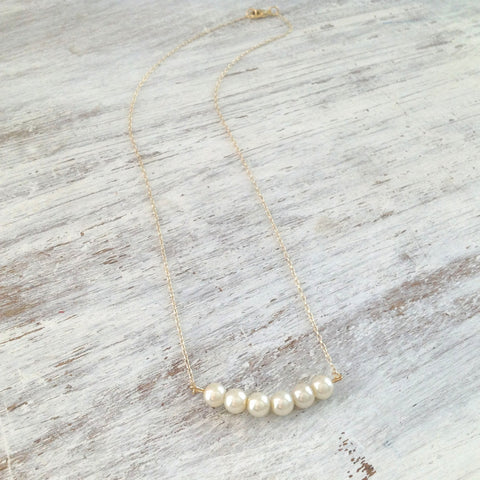 Gold Pearl Necklace 5 Row pearl 14k Gold Filled Chain