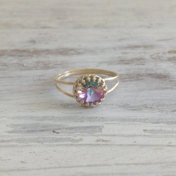 Swarovski crystal ring Light purple swarovski stone gold ring
