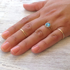 Gold cocktail ring 2 hammered rings clear crystal ring  set of 3 rings