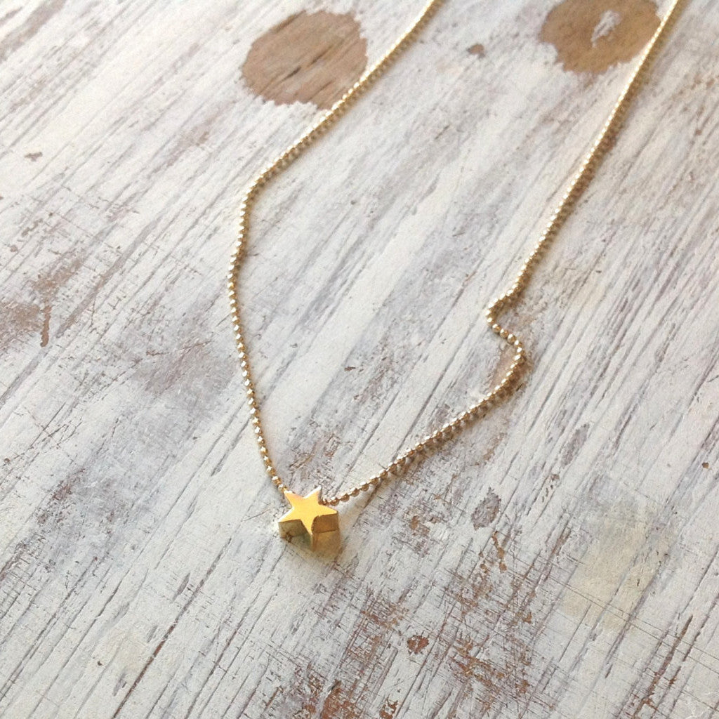 gold necklace pendant tiny metal clay product star small jewelry minimalist bronze