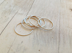 Thin Gold Rings set of 5 rings