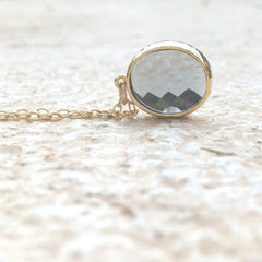 gray glass stone necklace