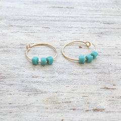 Gold Turqouise Thin Hoop Earrings