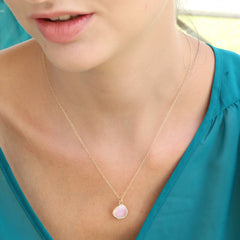 Glass Stone Necklace Gold Framed Pink Rose Teardrop Gold Cable Chain
