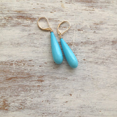Turquoise Earrings coral  dangle 14k gold filled jewelry
