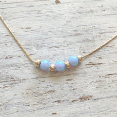 Opal Bead Necklace Gold Blue Opal Beads Chain