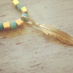 Feather gold turquoise beads Necklace