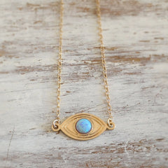 Evil eye charm Blue Opal Gemstone 14k gold filled Necklace