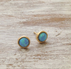 Gold Stud Earrings white opal gemstone 14k