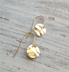 Gold filled Hammered Disc dangle earrings