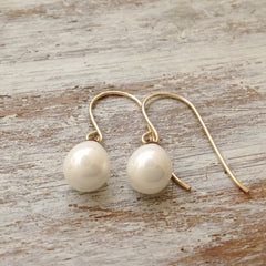 White teardrop pearl Dangle Gold Earrings