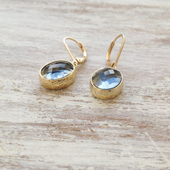 Gold Filled Gray Glass Stone Earrings