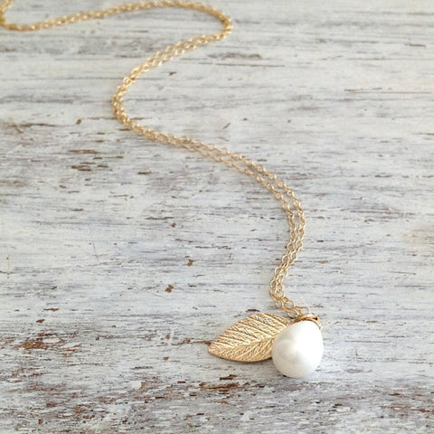 leaf and pearl necklace