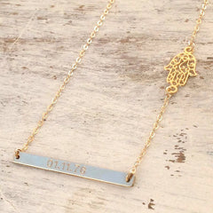 bar necklace engrave