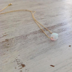 Square Opal Bead Necklace