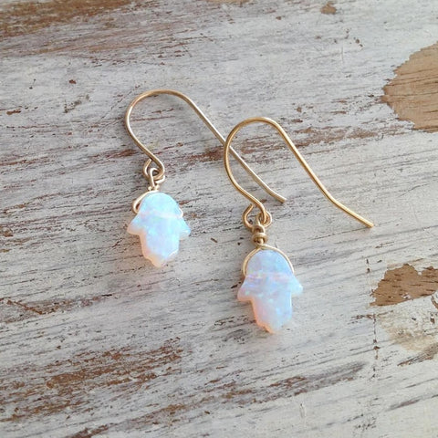 White Opal Hamsa Dangle Earrings