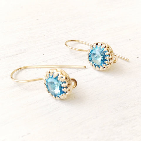 Aquamarine Earrings Blue swarovski crystal 14k gold filled jewelry