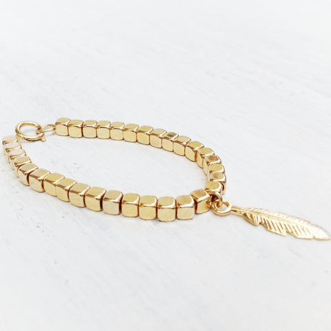 gold filled feather bracelet