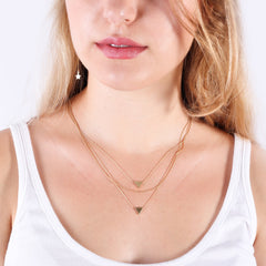 Layering necklace geometric layered set of 3 gold chain necklace