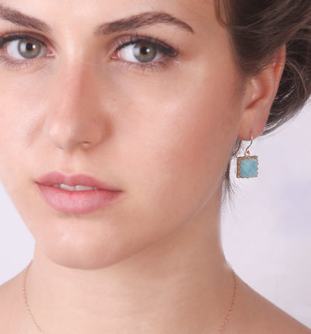 Blue Druzy Earrings Druzy Stone