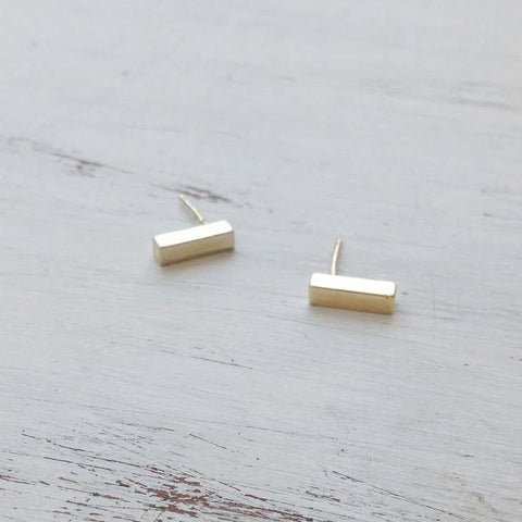 Tiny gold bar earrings
