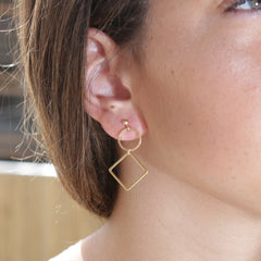 Dainty Simple Circle Square Earrings
