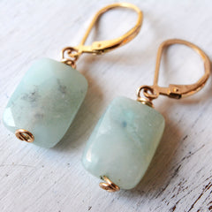 Amazonite Earrings Dangle Green Mint Stone 14k Gold filled Leverback Closure