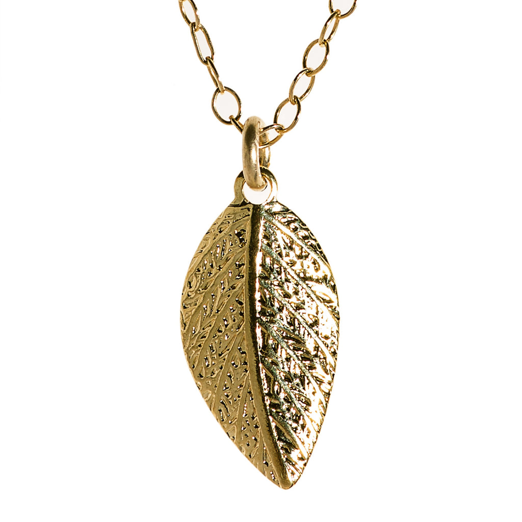 olive leaf yellow in gold pendant