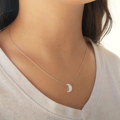 White Moon Opal Necklace Gold Filled 925 Sterling Silver Crescent Moon Pendant