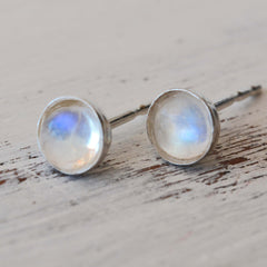 Sterling Silver Rainbow Moonstone Stud Earrings 4mm Round Natural Moonstone