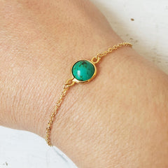 Gold Turquoise Bracelet Birthstone Bracelet For Women