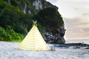 Cabana Teepee with Yellow stripes are available online