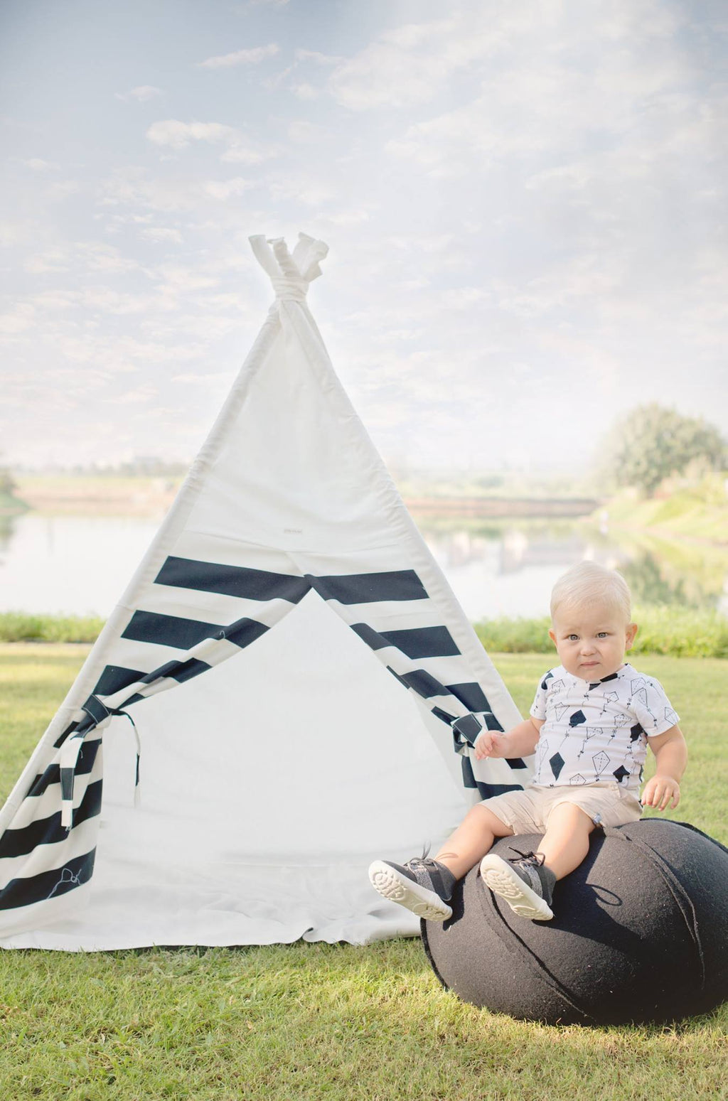 Children teepee with monochrome stripes