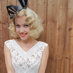 Leather 'Electra' headpiece by The Season Hats at Royal Ascot