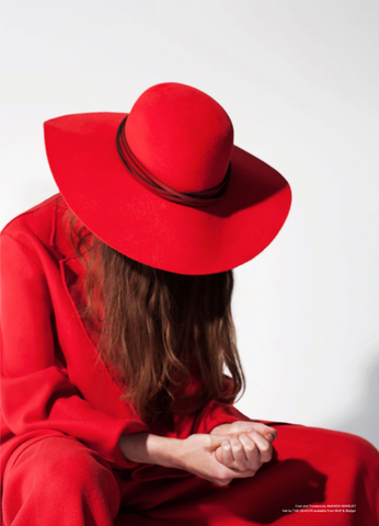 Red leather trimmed floppy hat for festive luxe