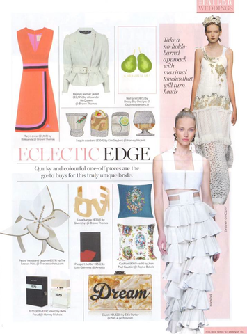 Peony leather hairband by The Season Hats in Irish Tatler