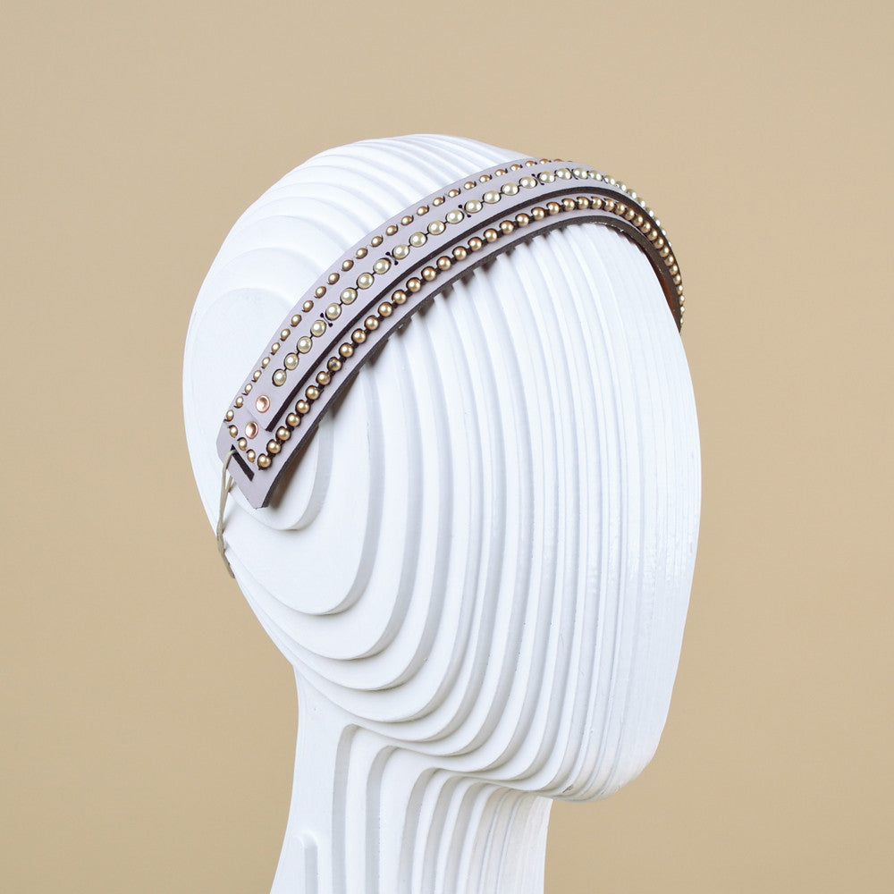 Layered leather and Swarovski pearl headband