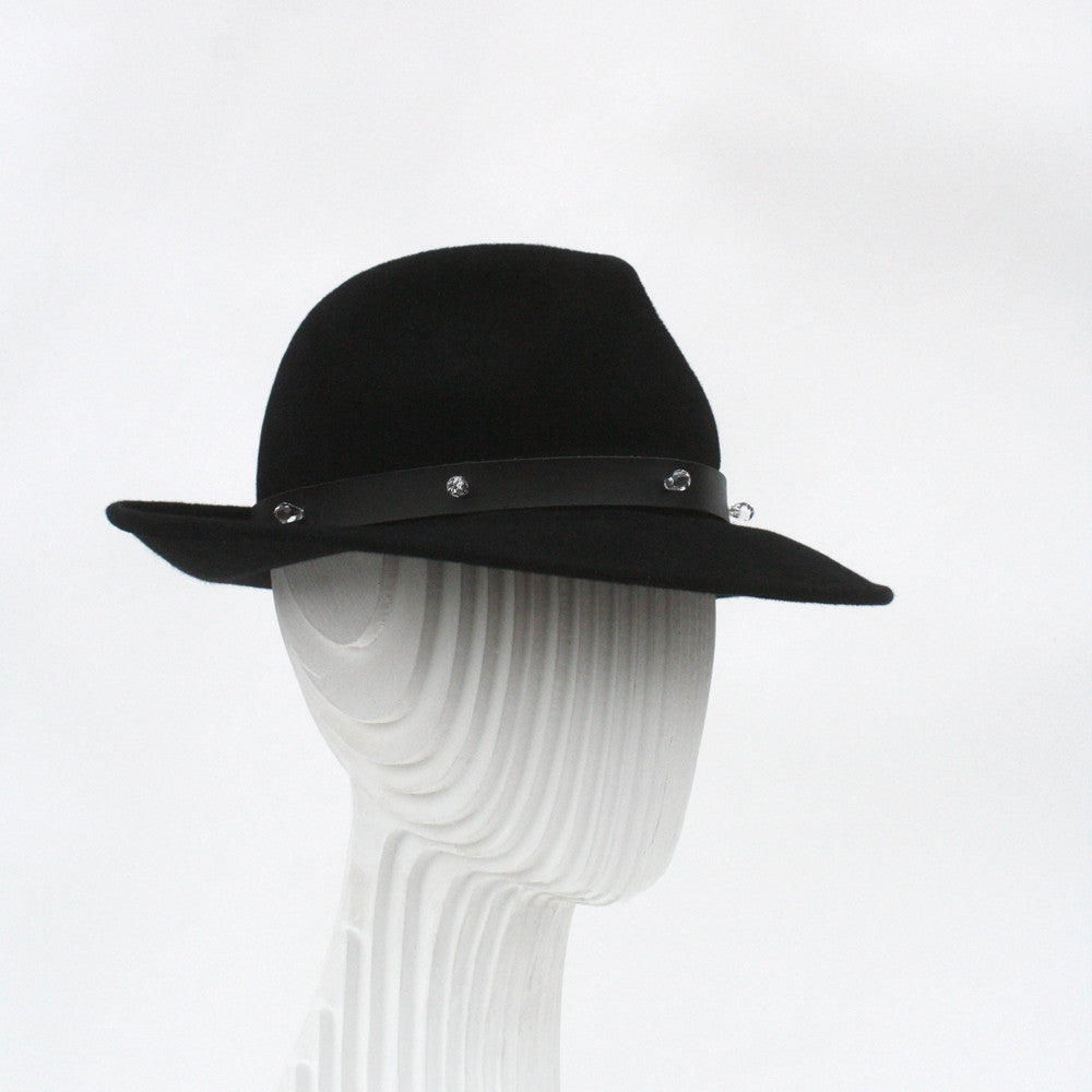 Black felt trilby with leather trim and Swarovski crystal pendants