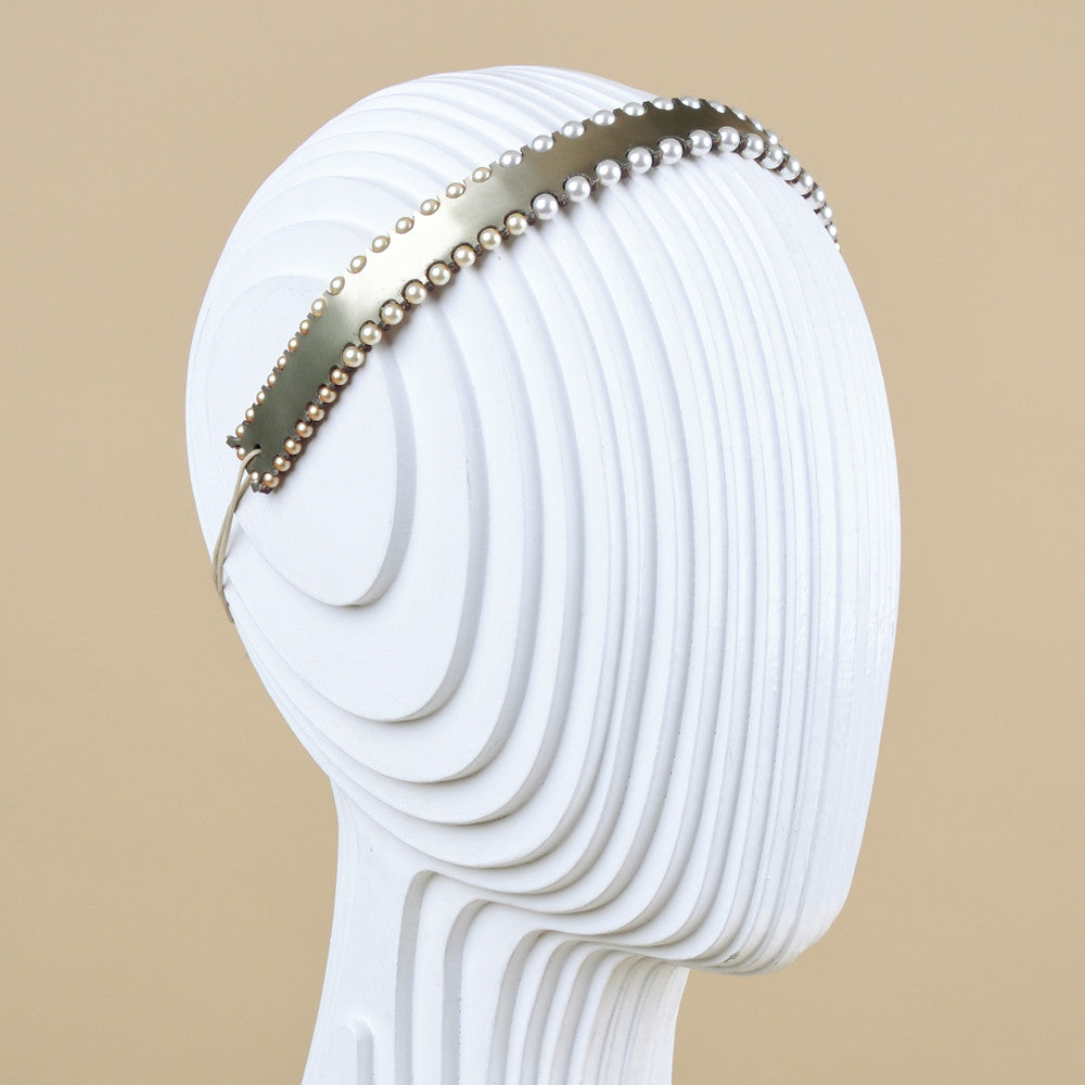 Gold Leather and Swarovski Pearl Headband