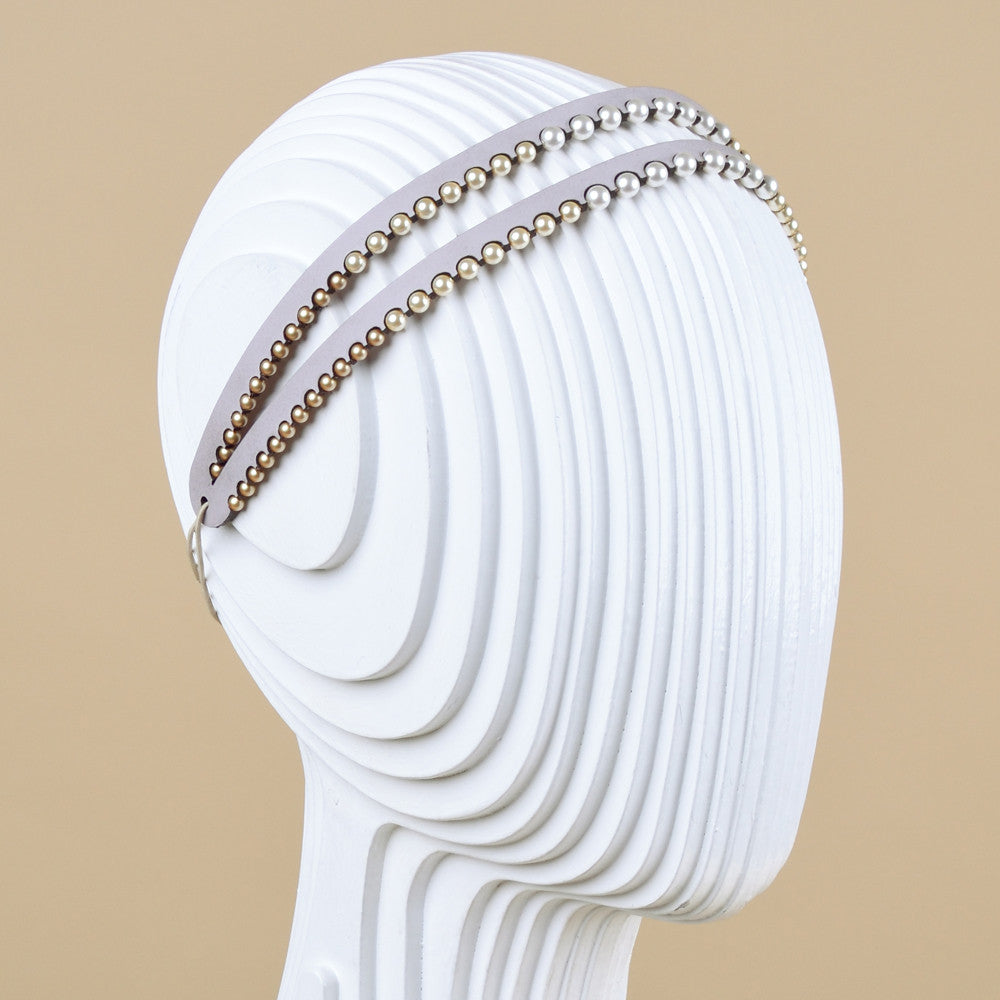 Double strap leather and Swarovski pearl headband