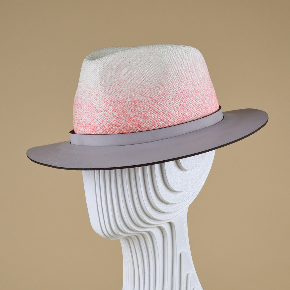 Ombre straw trilby with leather brim