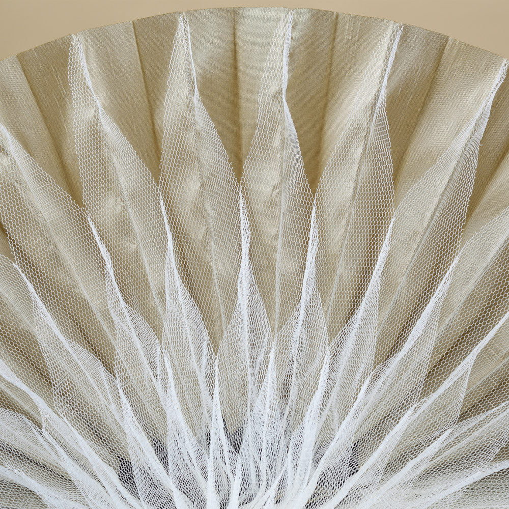 Unfolding tulle and dupion coolie detail