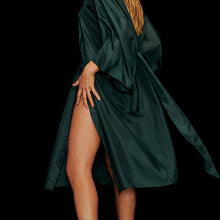 Load image into Gallery viewer, Girl wearing a Green Silk Kimono Robe