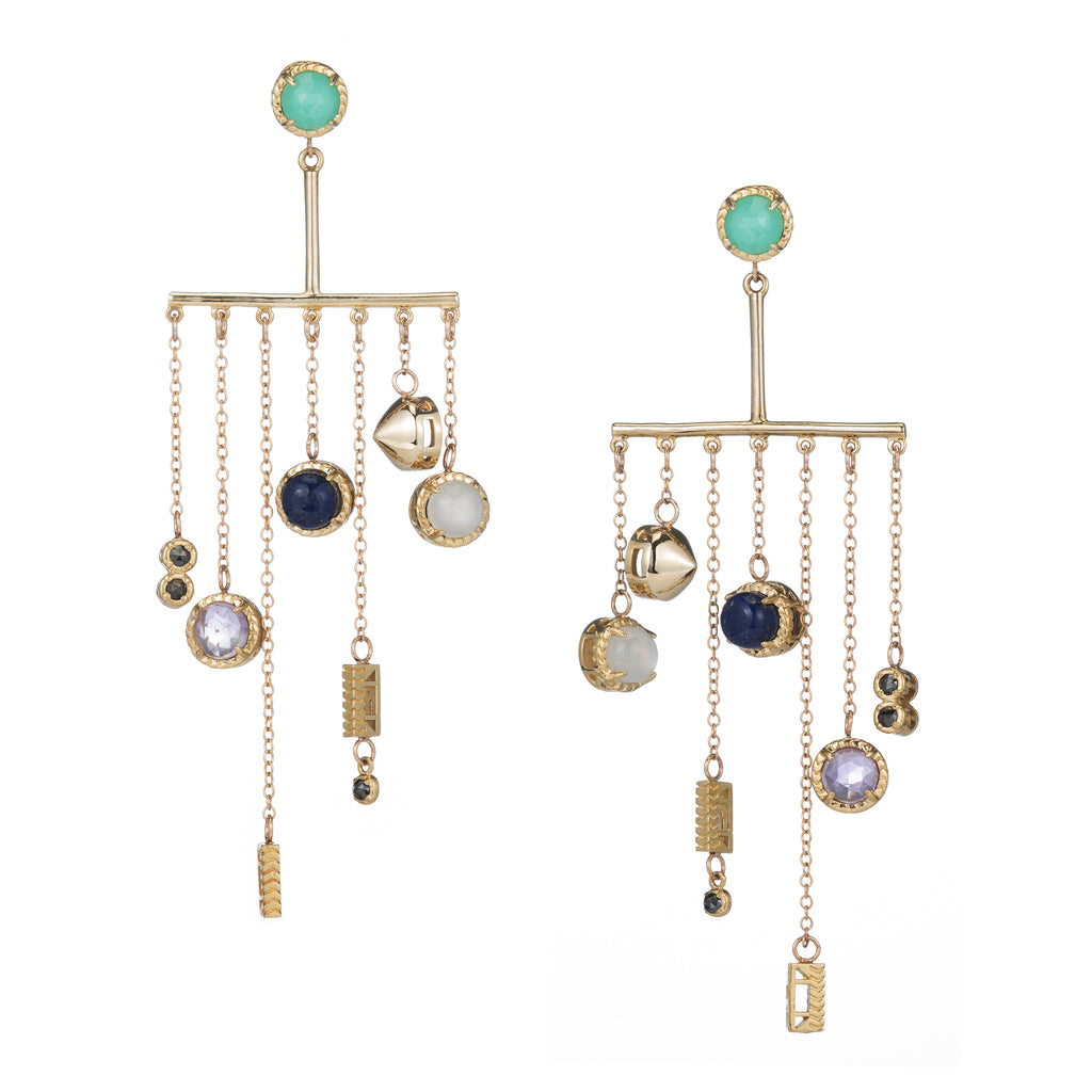 Brass + Stone Chandelearrings