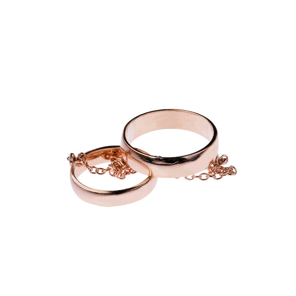 Double Band Chain Ring- 14K Rose Gold