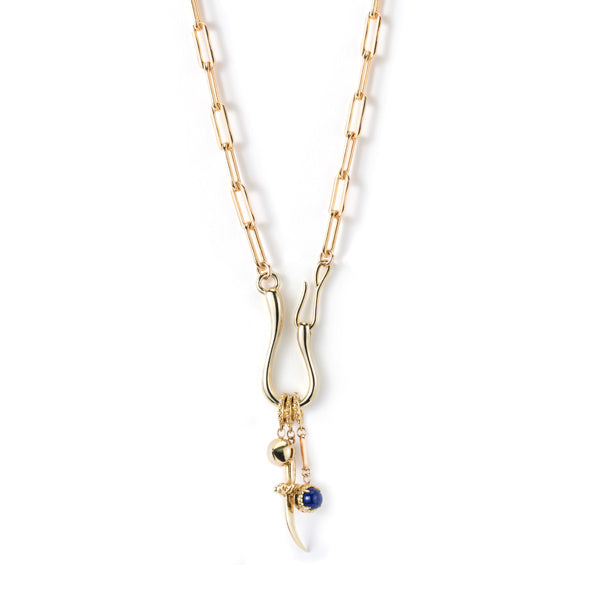 Dagger + Stone Hook Catch Charm Necklace- Heavy