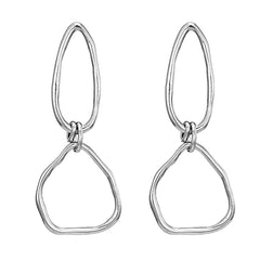 Double O Earrings- Silver
