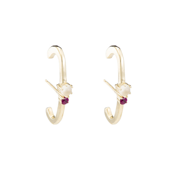 Two Stone Line Ear Cuffs- Moonstone Ruby
