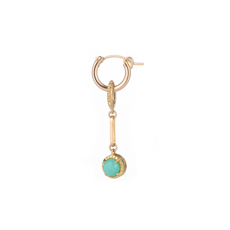 Single Stone Charm Hoop Earring